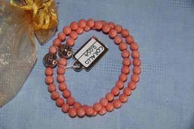 Bracciale artigianale fatto a mano corallo rosa - Idea regalo