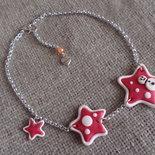 Collana Natale Pupazzo di neve sulle stelle rosse