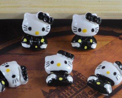 cabochon hello kitty  black  24x15 mm