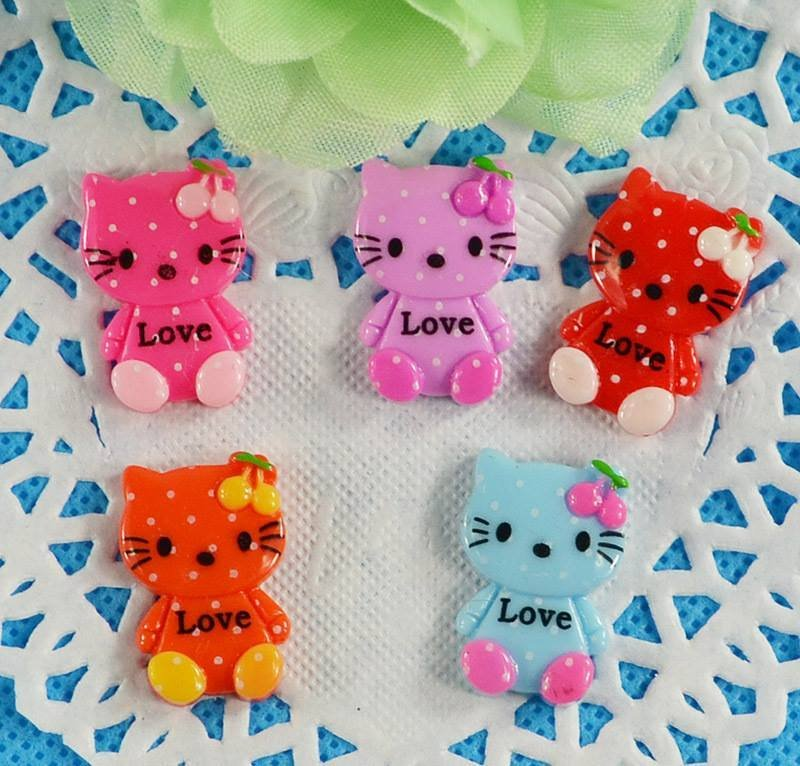 4 cabochon hello kitty in resina 24x16 mm colori mix  scontato