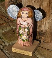 Dipinto su pietra - FATA FIOR DI LOTO - Opera d'arte - Idea regalo - oggetto da collezione