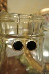 Orecchini con pendente nero e argento - Carla