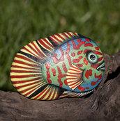 Dipinto su pietra - PESCE TROPICALE - Opera d'arte - Idea regalo - oggetto da collezione