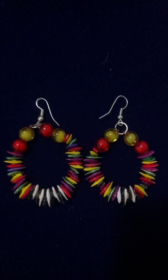 orecchini rotondi,colorati dipinti a mano