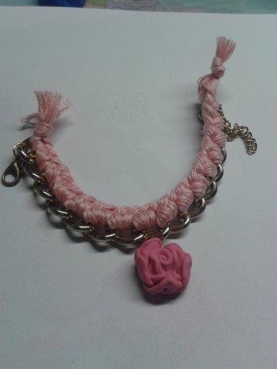 Bracciale con catena filo e rosa