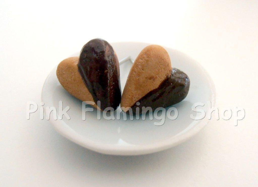 Orecchini cuore di cioccolato in Fimo