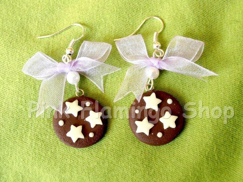 Pan di Stelle - orecchini pendenti in Fimo con fiocco in organza lilla