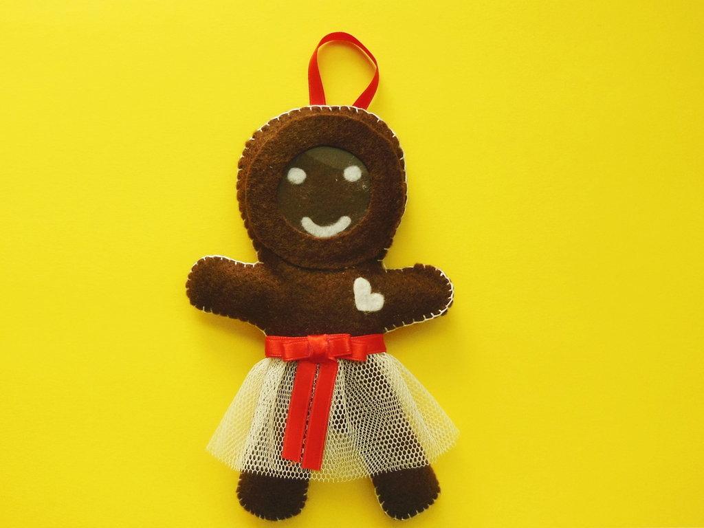 Decorazione natalizia 'cornice biscotto di panpepato' in feltro per l'albero di natale