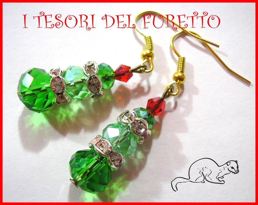 """Orecchini """"Albero di Natale Perle"""" vetro verde Natale 2013"""