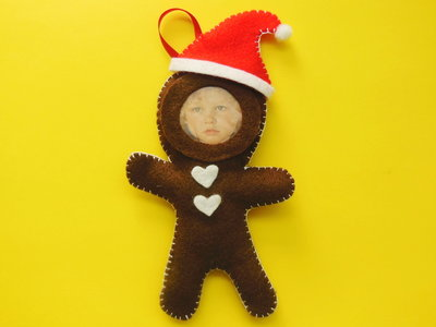 Decorazione natalizia  'cornice biscotto panpepato' in feltro per l'albero di natale