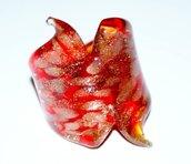 anello in vetro color rosso