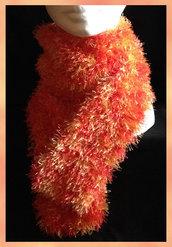 Sciarpina pelouche rosso arancio