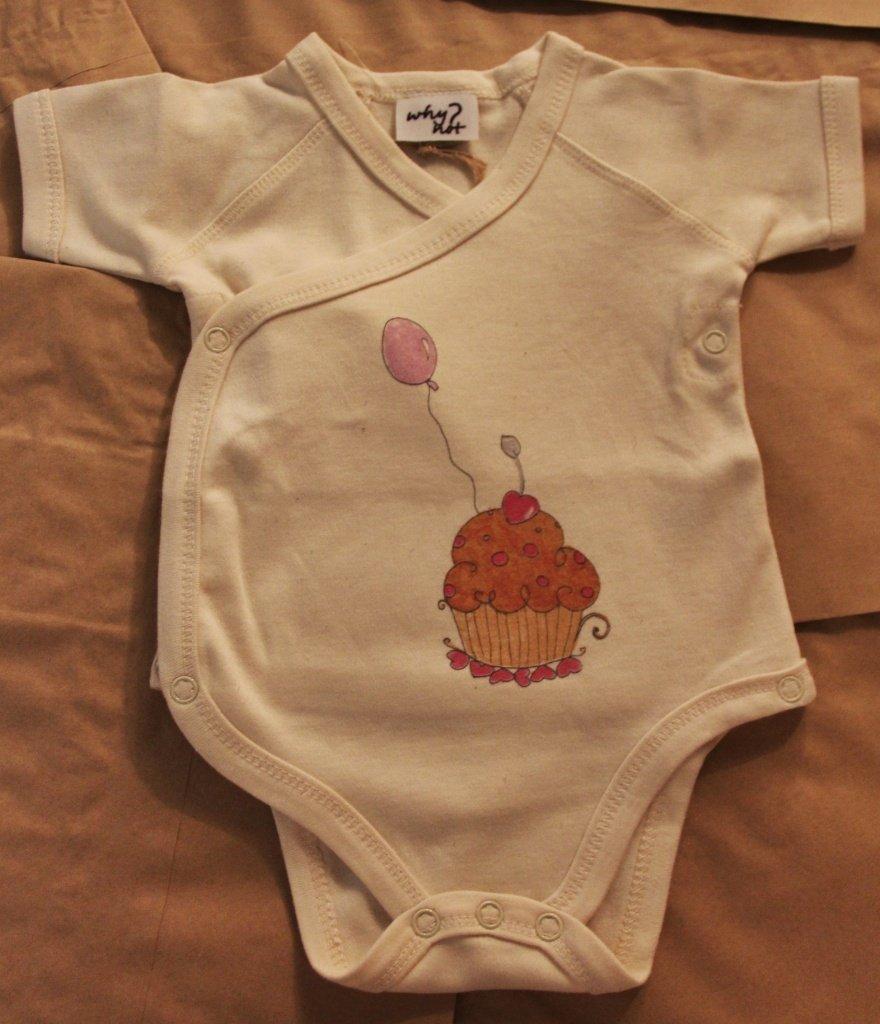 Body Kimono 3-6 mesi in cotone biologico colore naturale con cupcake design