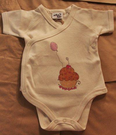 Body Kimono 6-12 mesi in cotone biologico colore naturale con cupcake design