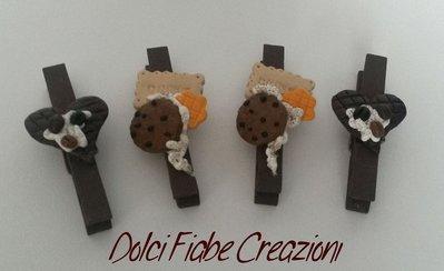 Mollette e mollette magnetiche chiudipacco panna e biscotti