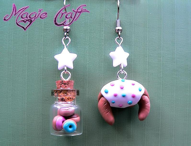 Orecchini Bottiglietta con mini ciambelle e brioche in Fimo