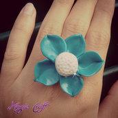Anello in Fimo Fiore azzurro