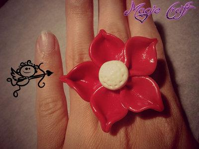 Anello in Fimo Fiore rosso