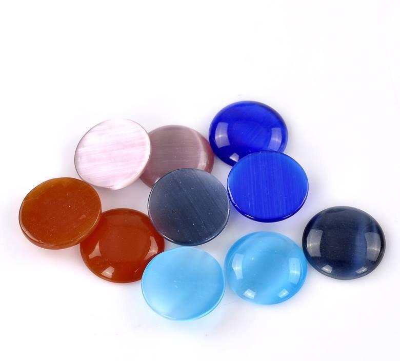 6 Cabochon Cammeo  in Opale 18mm Dia. 6 pezzi colori a coppie