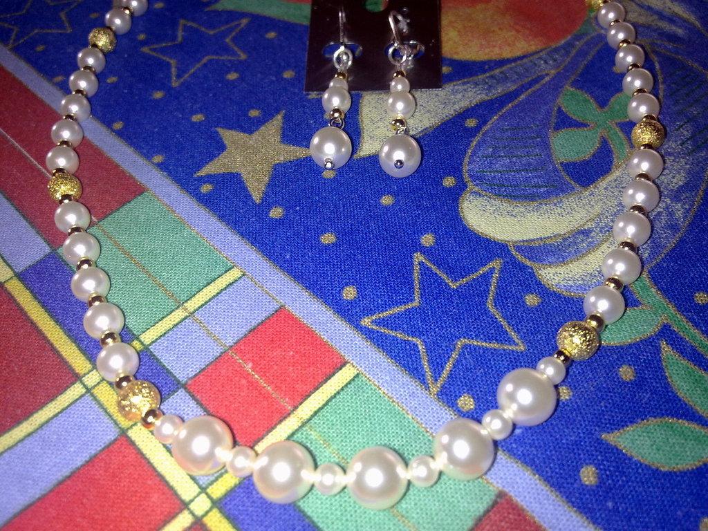 collana e orecchini in perle swarosky