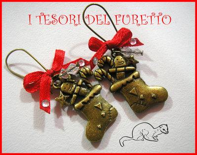"""Orecchini """"Calze della Befana """" bronzo charm fiocchetto rosso"""