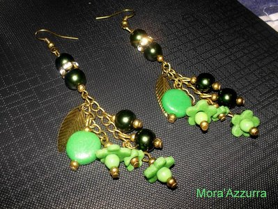 Orecchini Verdi Polim-Perl