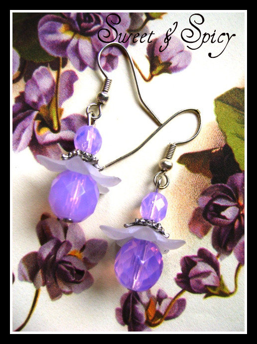 FLOWERS COLLECTION-CYCLAMEN OPAL EARRINGS-ORECCHINI VINTAGE CON CRISTALLI