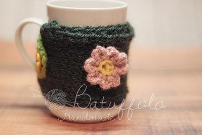 Copri tazza mug-prato fiorito; BatuffoloHandmade