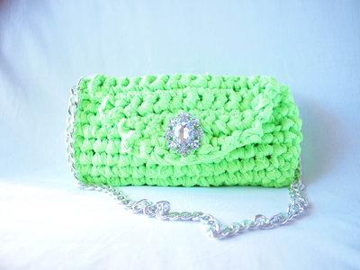 Borsa in fettuccia fatta a mano all'uncinetto, Crochet hand made