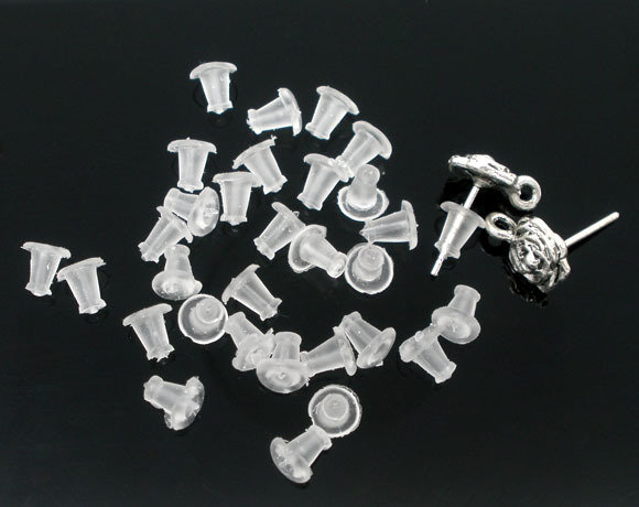 50 Gommini Tappini in Gomma per Orecchini e Monachelle trasparente 5×5mm