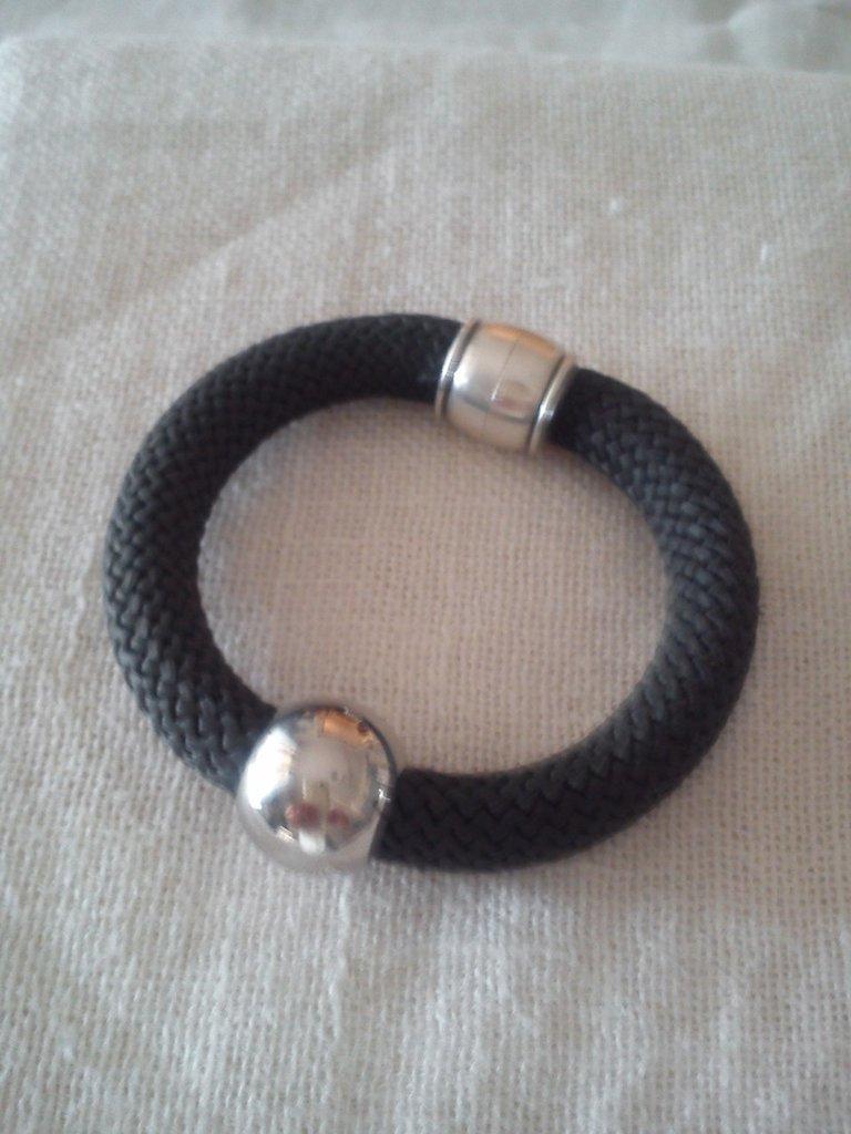 bracciale in corda color grigio antracite