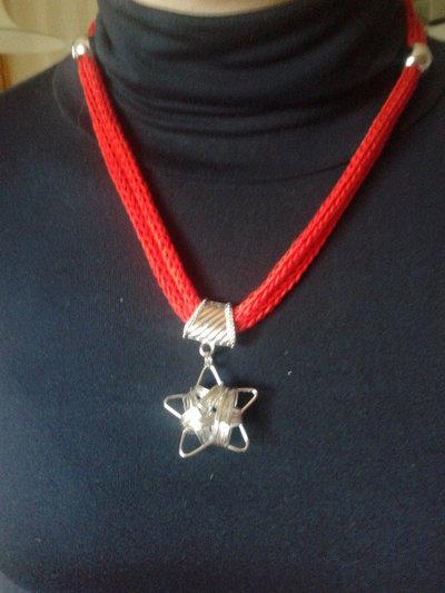 collana maglia tricotin in cotone rosso con stella
