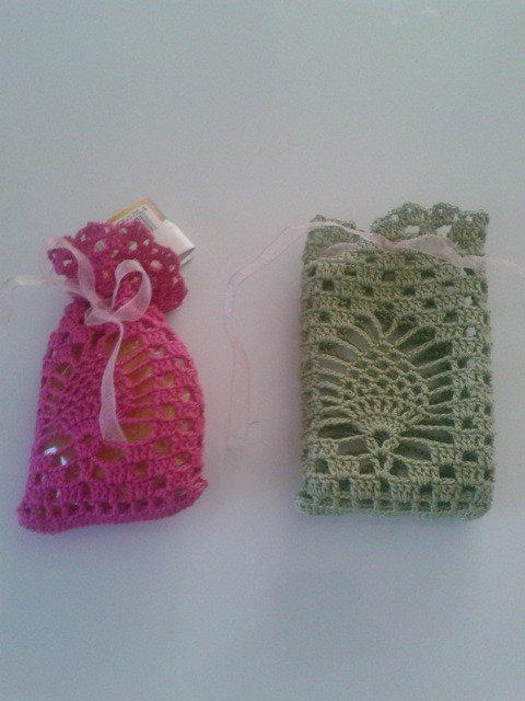sacchetti uncinetto crochet in cotone colorati
