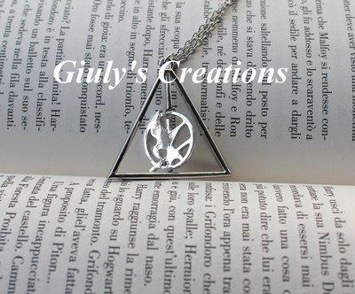 Collana con I Doni della Morte di Harry Potter e La Ghiandaia Imitatrice di Hunger Games