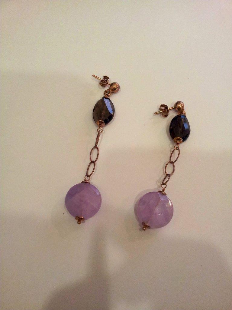 Orecchini pendenti in lega d'Argento con Agata lilla e Swarovski blu