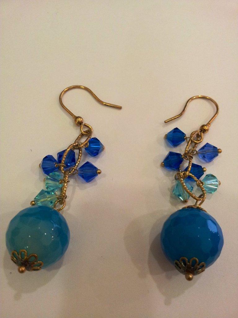 Orecchini in Argento dorato 925,Agata blu,Swarovski