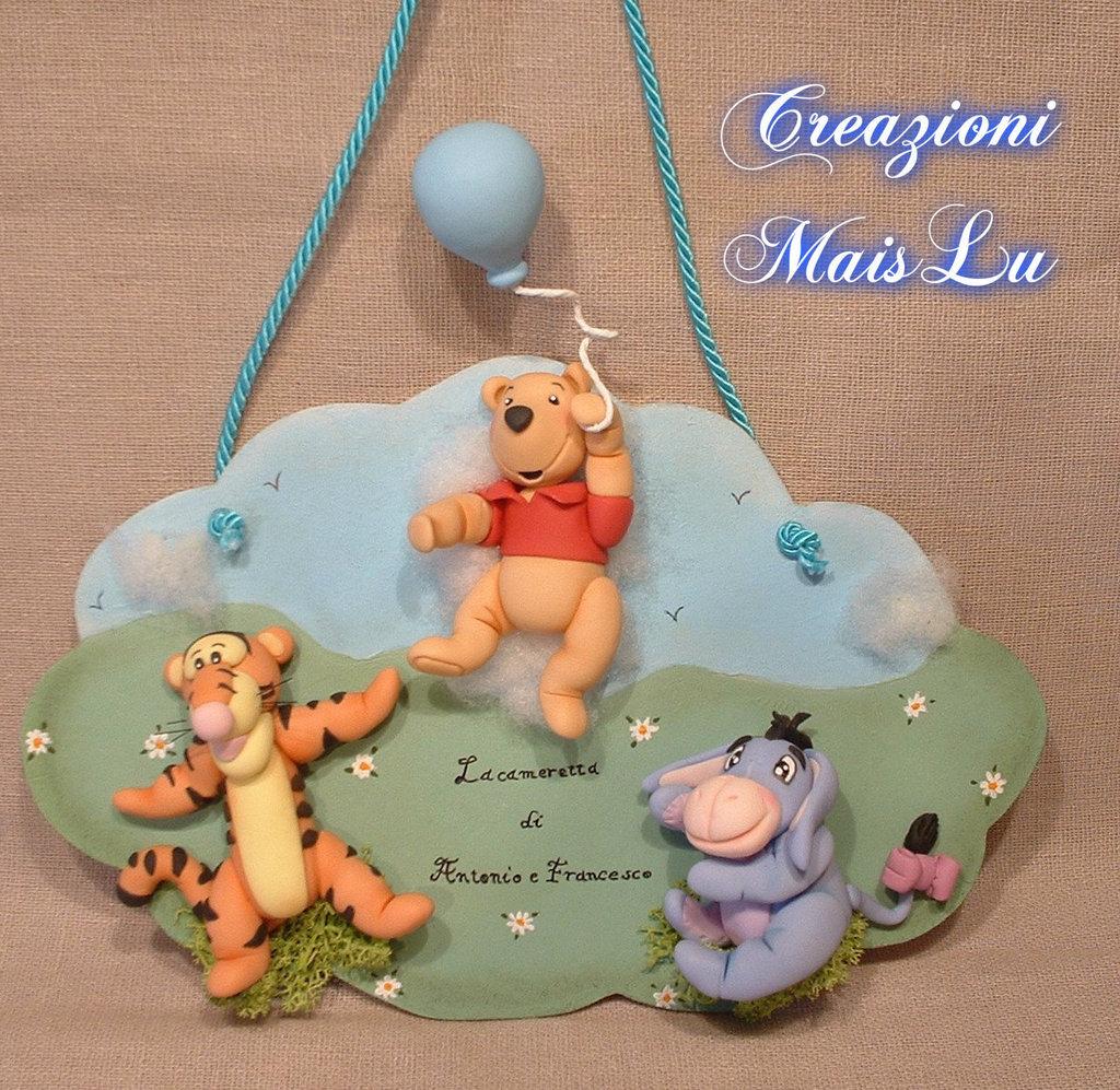 Targhetta Winnie The Pooh & C. in pasta di mais