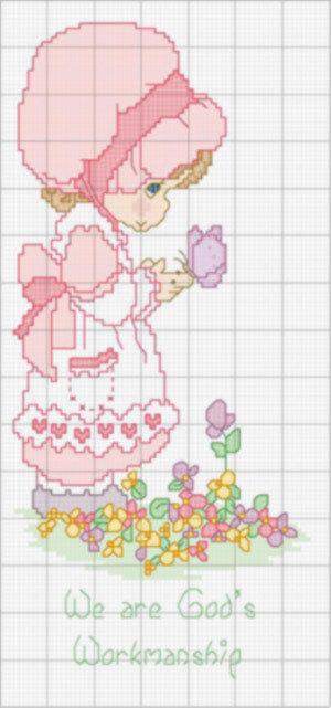 schema - bambina con fiori - Punto Croce