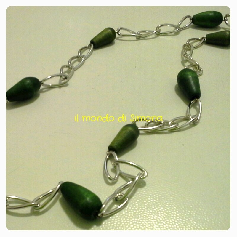 collana lunga a catena color argento