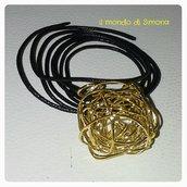 collana regolabile pendente intrecciato dorato