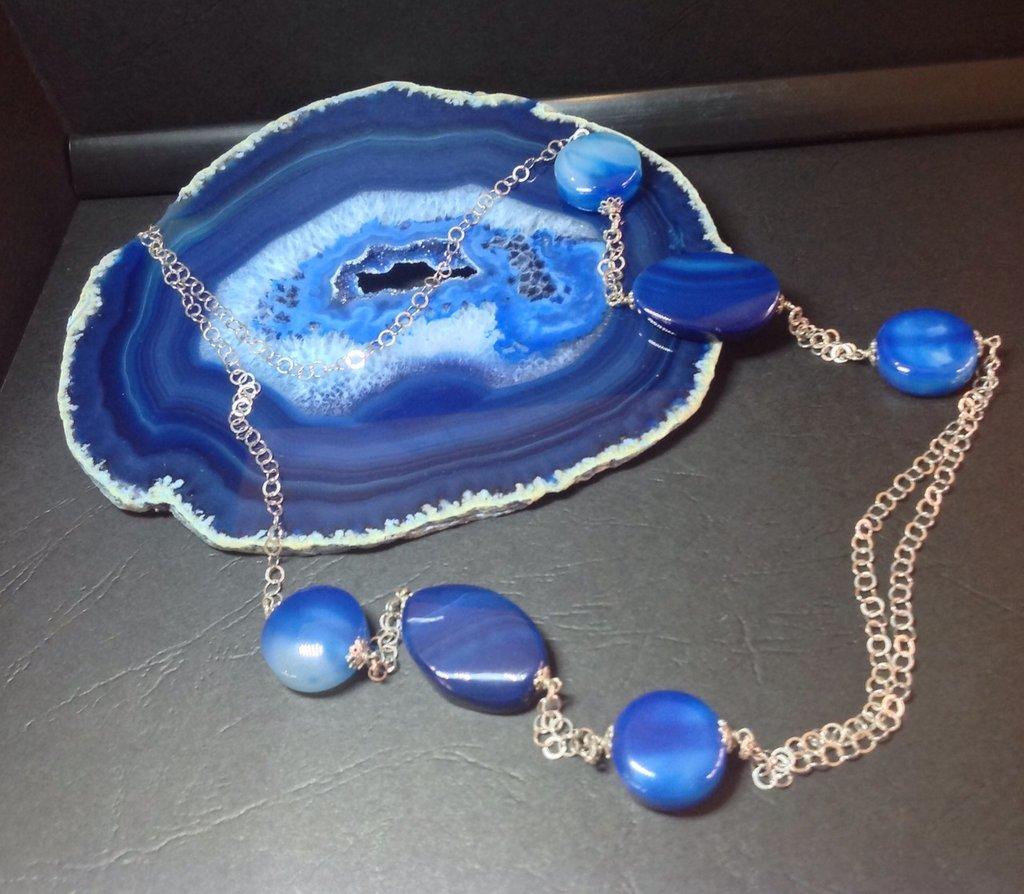 Collana di Agata blu e Argento 925