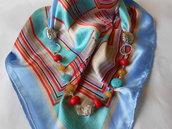Foulard  gioiello  con pietre dure e chiusura calamitata centrale, idea regalo.