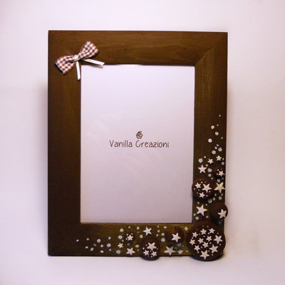 """Cornice portafoto in legno con dolci decorazioni in fimo """"Mooncake & Pan di Stelle"""" realizzata a mano! Spdizione GRATUITA!"""
