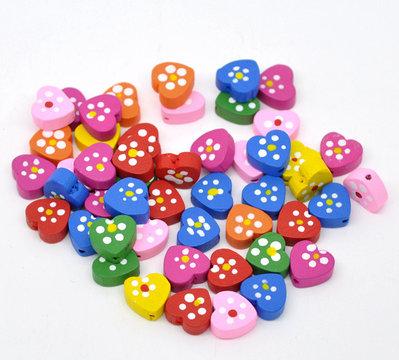 10 perle a cuore in legno 14x13 mm colori mix