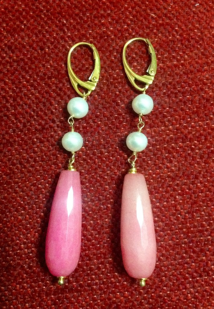 Orecchini di Perle, Agata Fucsia e Argento