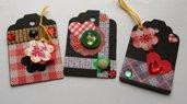 Tags in Scrap - Etichette chiudipacco - Black&Red - lotto (3pz)