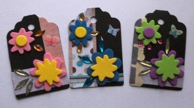 Tags in Scrap - Etichette chiudipacco - Black&Flowers - lotto (3pz)