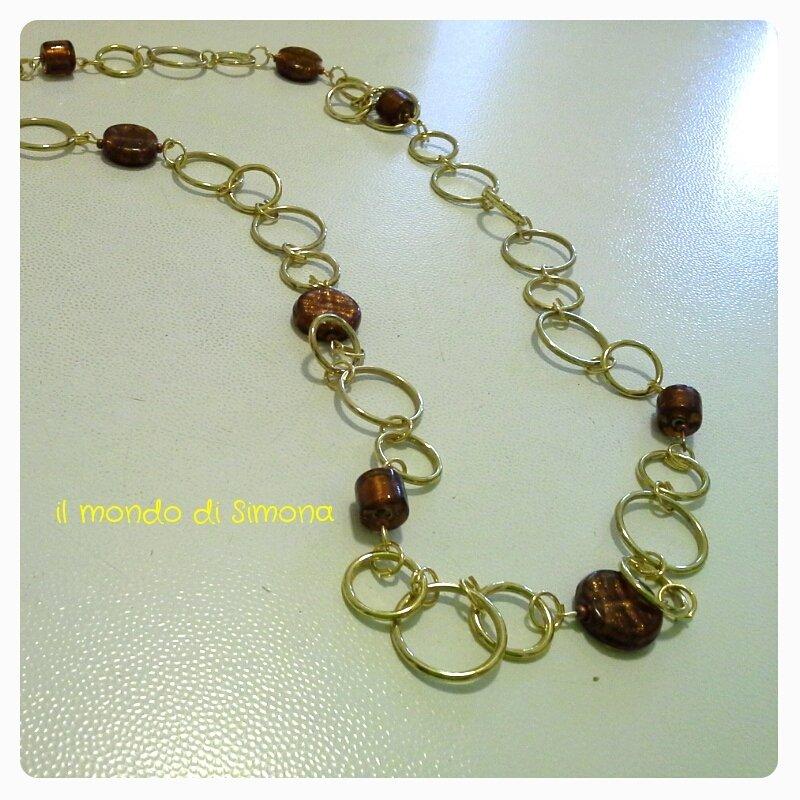 collana lunga perle di vetro