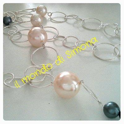 collana lunga catena e perle