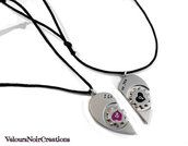 2 collane con cuore spezzato in metallo regalo innamorati